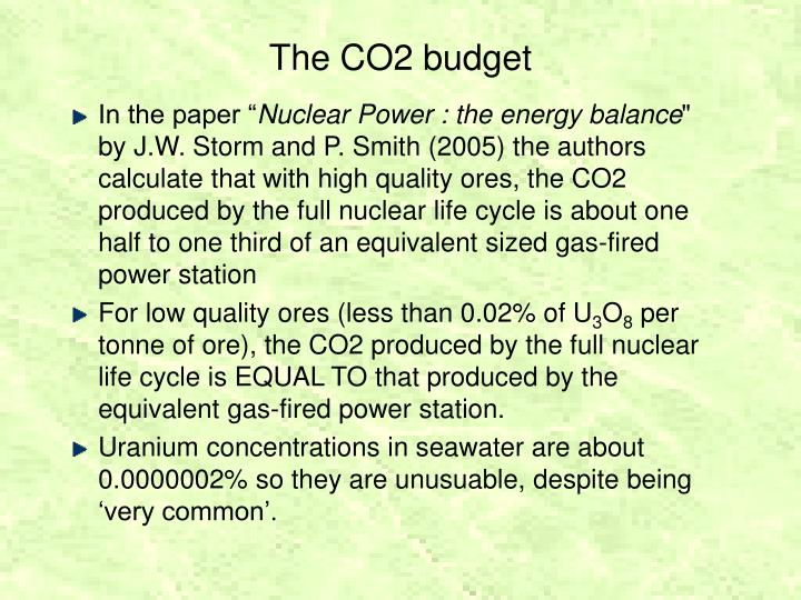 The CO2 budget