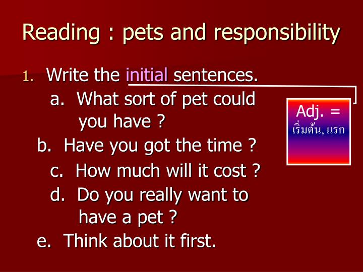Reading : pets and responsibility