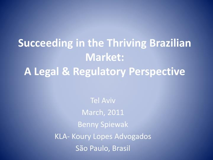 succeeding in the thriving brazilian market a legal regulatory perspective n.