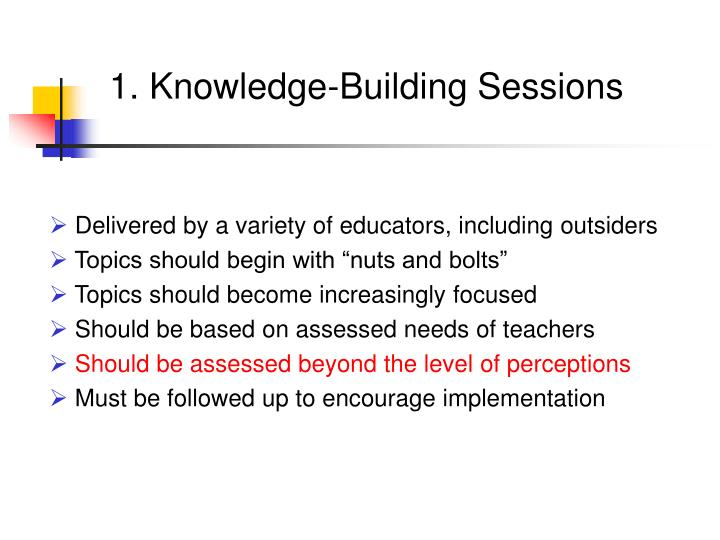 1. Knowledge-Building Sessions