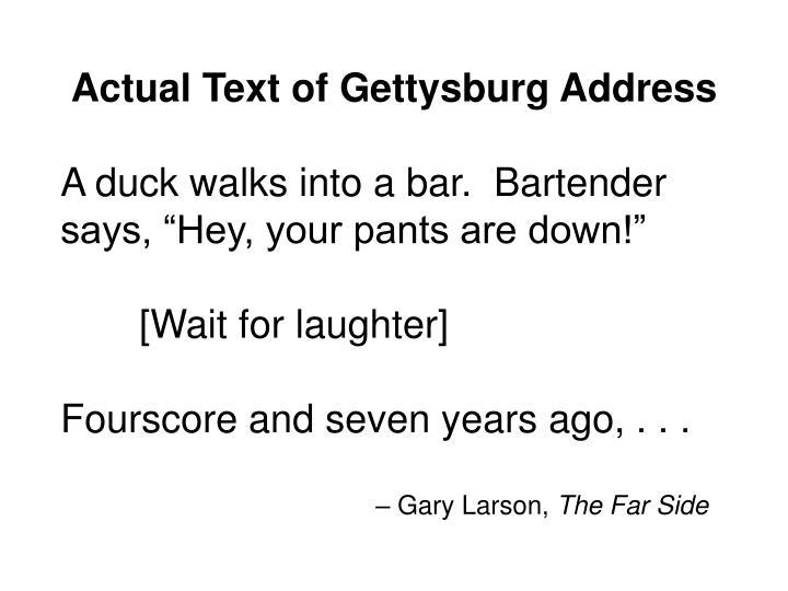 Actual Text of Gettysburg Address