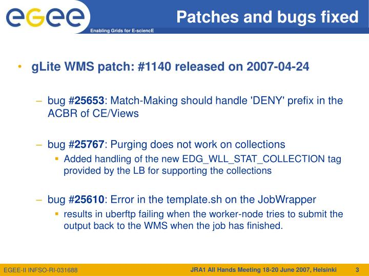 Patches and bugs fixed