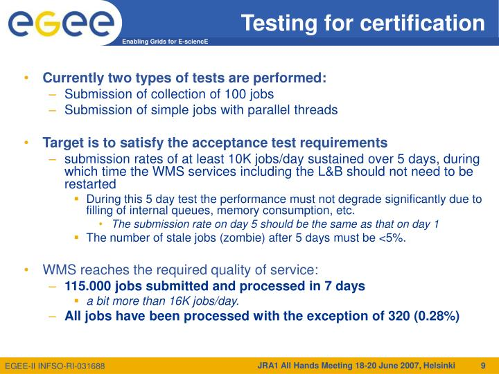 Testing for certification