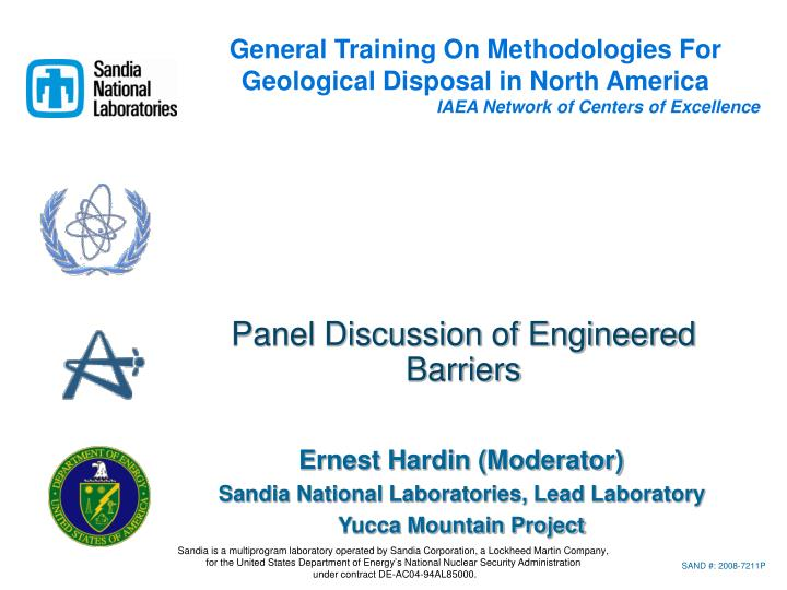 panel discussion of engineered barriers n.