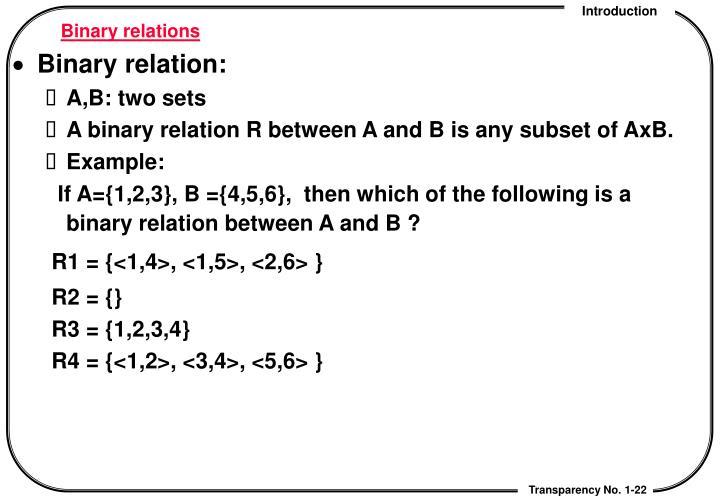 Binary relations
