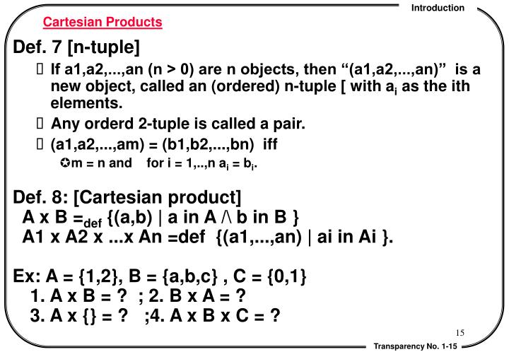 Cartesian Products