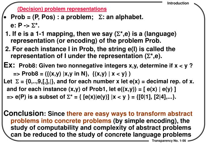 (Decision) problem representations
