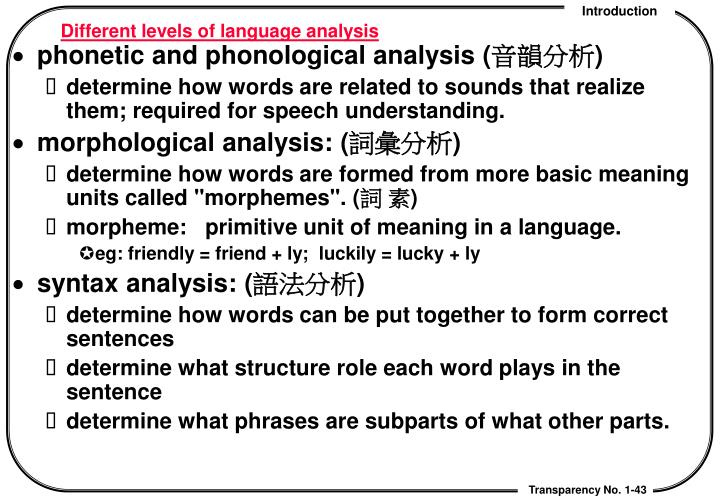 Different levels of language analysis