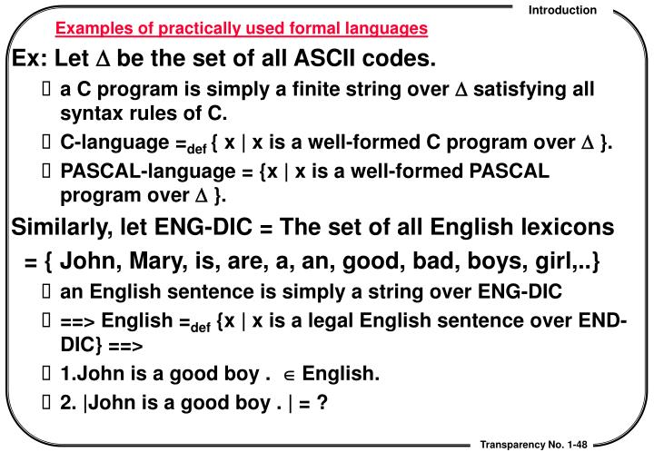 Examples of practically used formal languages