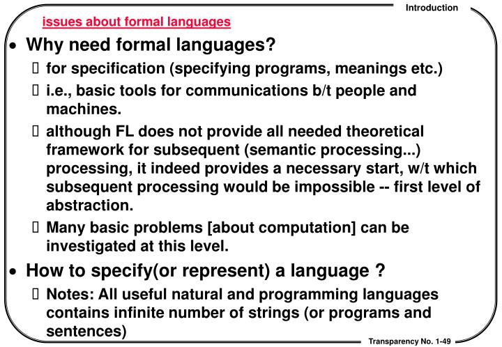 issues about formal languages