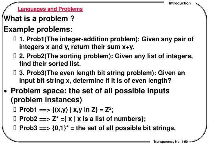 Languages and Problems