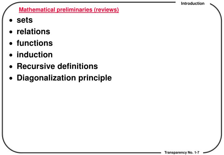 Mathematical preliminaries (reviews)