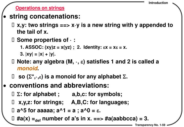 Operations on strings