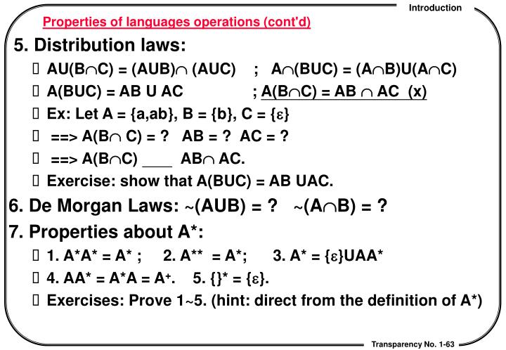 Properties of languages operations (cont'd)