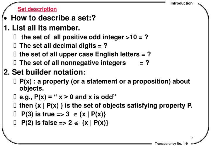Set description