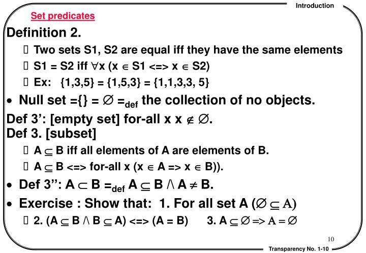 Set predicates