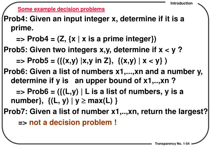 Some example decision problems