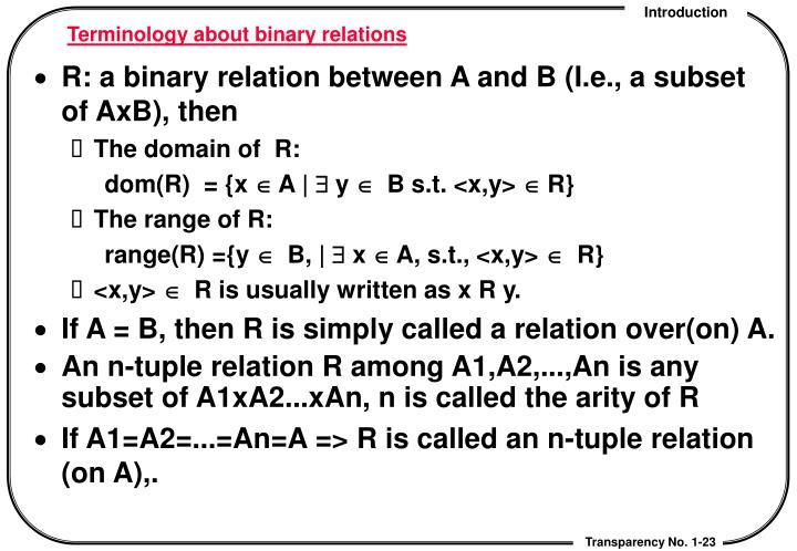 Terminology about binary relations