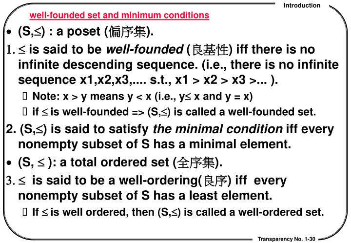 well-founded set and minimum conditions