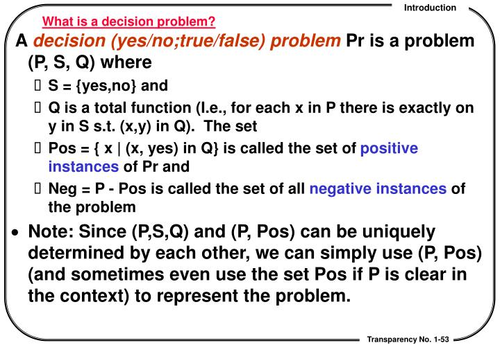 What is a decision problem?
