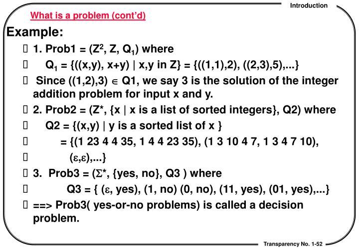 What is a problem (cont'd)
