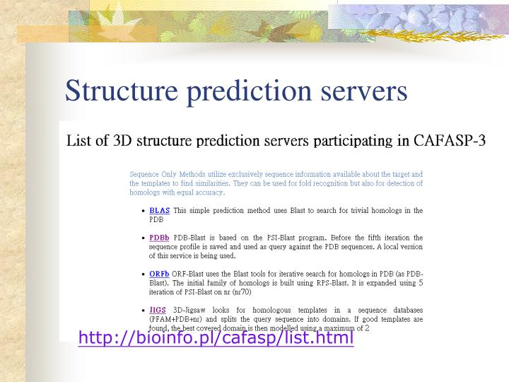 Structure prediction servers