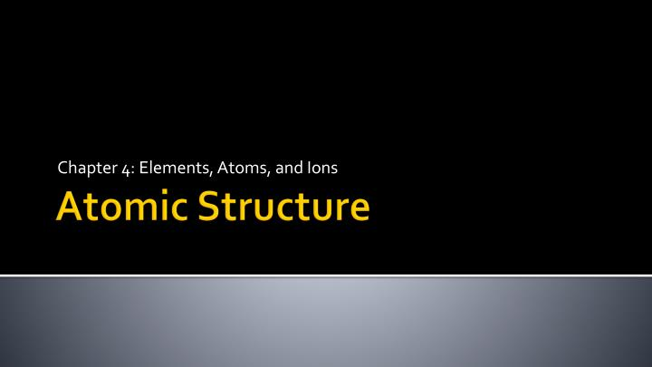 chapter 4 elements atoms and ions n.