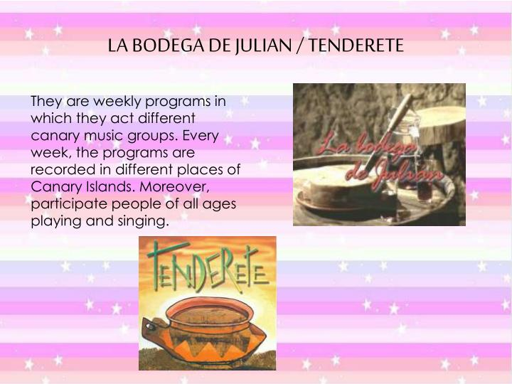 They are weekly programs in which they act different canary music groups. Every week, the programs are recorded in different places of Canary Islands. Moreover, participate people of all ages playing and singing.
