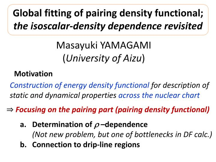 global fitting of pairing density functional the isoscalar density dependence revisited n.