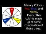 primary colors red blue and yellow every other color is made up of some combination of these three