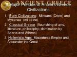 3 major periods of ancient greece civilizations