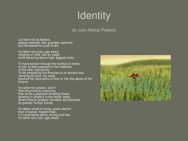 the poem identity by julio noboa Identity julio noboa polanco let them be as flowers, always watered, fed, guarded, admired, but harnessed to a pot of dirt i'd rather be a tall, ugly weed, clinging on cliffs, like an eagle  microsoft word - poetry character develop#c2doc author: denise turner created date.