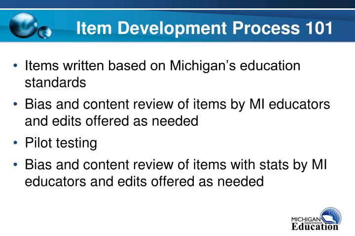 Item Development Process 101