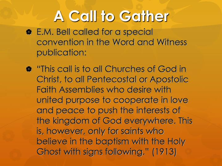 A call to gather