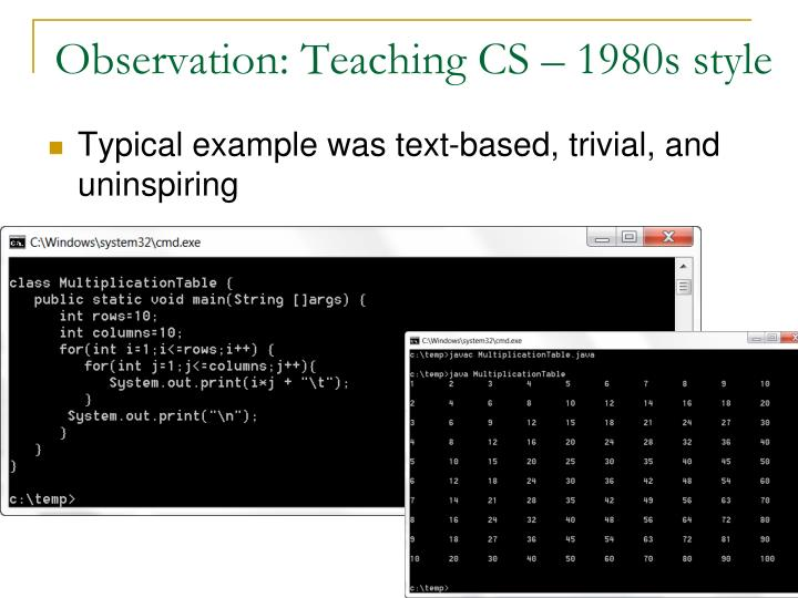 Observation teaching cs 1980s style