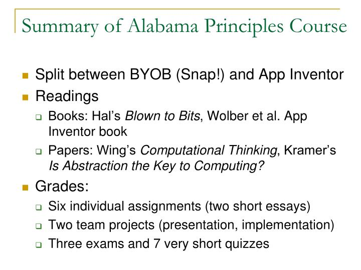 Summary of Alabama Principles Course