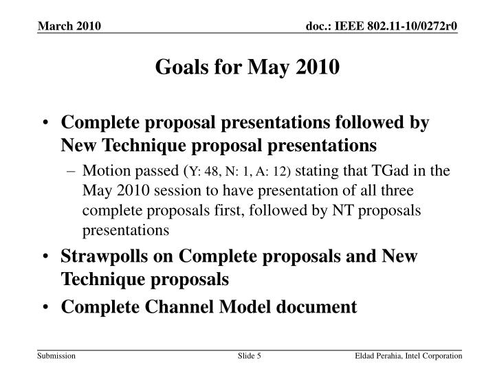 Goals for May 2010