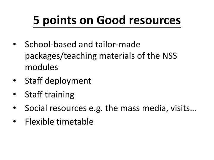 5 points on good resources
