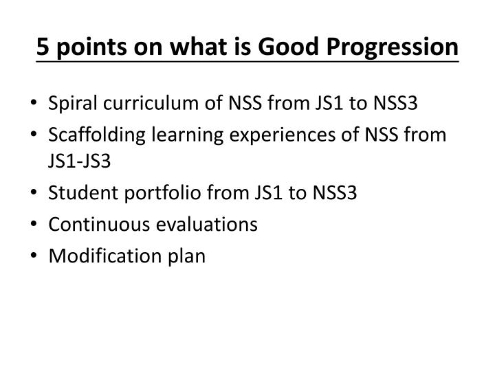5 points on what is good progression