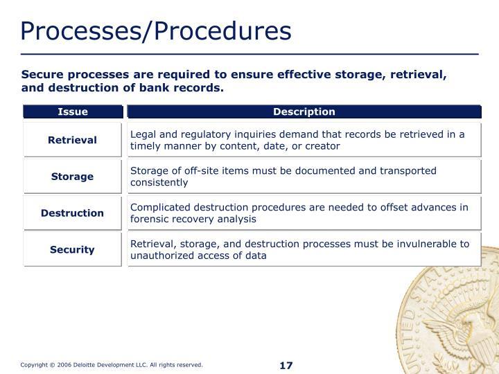 Processes/Procedures