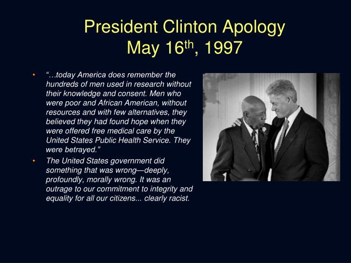 President Clinton Apology