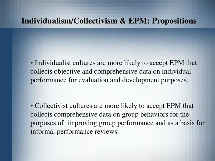 Individualism/Collectivism & EPM: Propositions