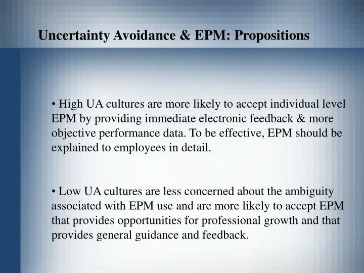 Uncertainty Avoidance & EPM: Propositions