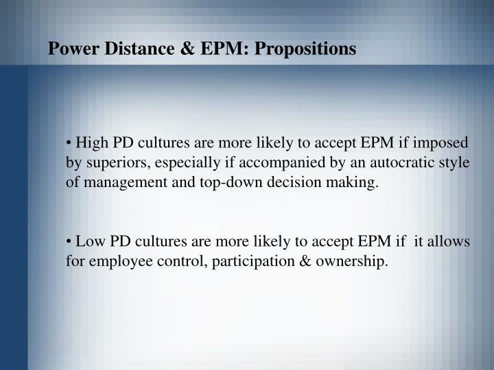 Power Distance & EPM: Propositions