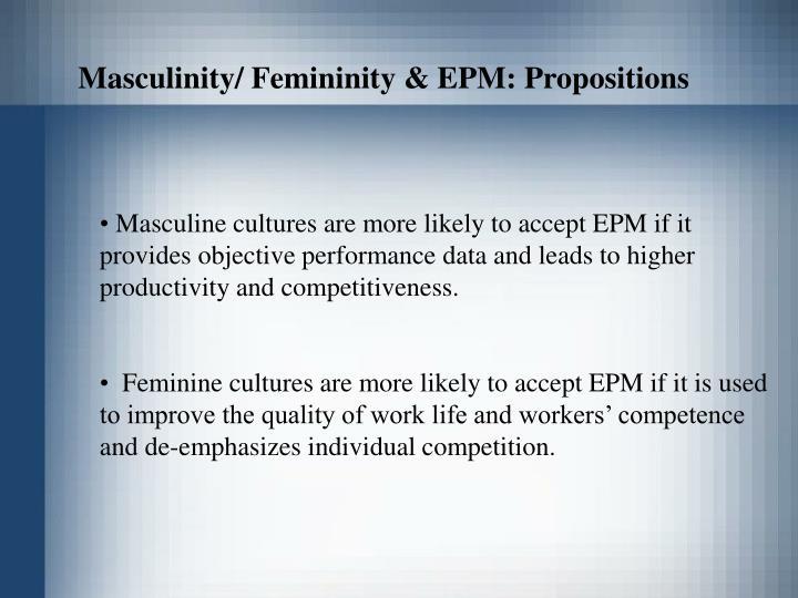 Masculinity/ Femininity & EPM: Propositions