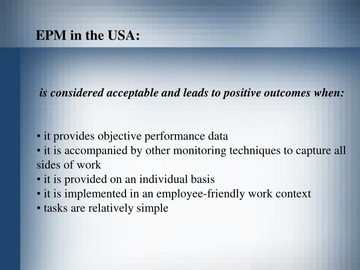 EPM in the USA: