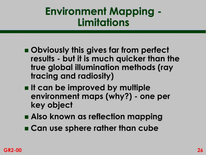 Environment Mapping - Limitations