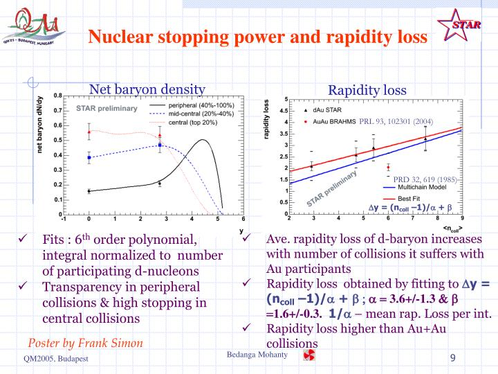 Nuclear stopping power and rapidity loss