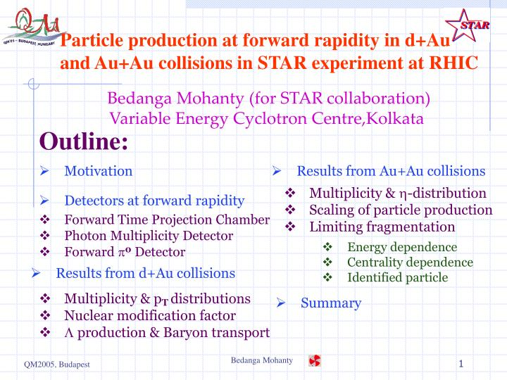 Particle production at forward rapidity in d au and au au collisions in star experiment at rhic