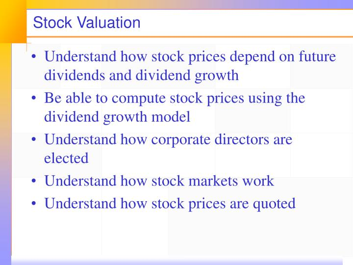 stock valuation n.